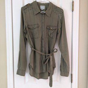 Anthro Maeve Aveiro Army Green Utility Shirt, sz 8
